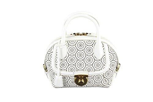 Salvatore Ferragamo Womens Fiamma Bag Lace White Leather