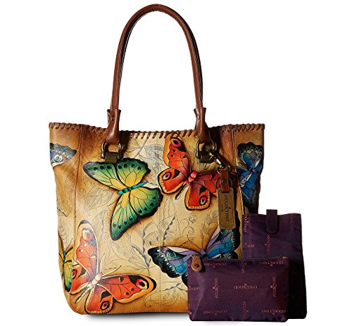 New! Anuschka Hand Painted Leather Large Shopper- Earth Song