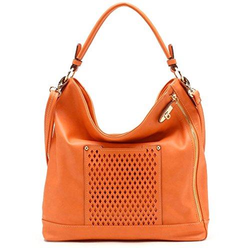 Tosca USA, Elegant Solid Hobo w/ Eyelet Pocket & Strap- Orange