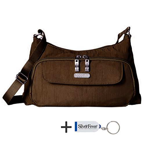 Baggallini Everyday Crinkle Shoulder Handbag Purse (Mocha)