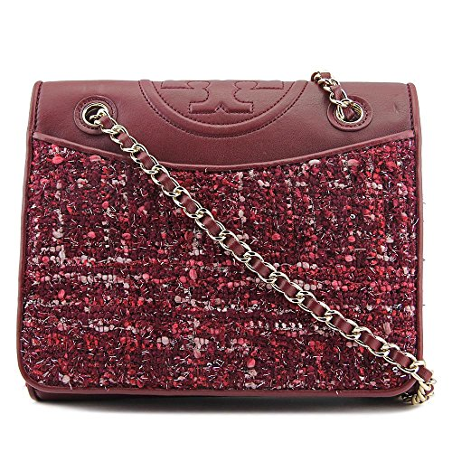 Tory Burch Women's Marion Tweed Medium Fleming Bag, Red Agate, One Size