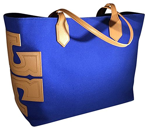 "Tory Burch Canvas Stacked ""T"" EW Tote Open Carryall Royal Ocean Blue"