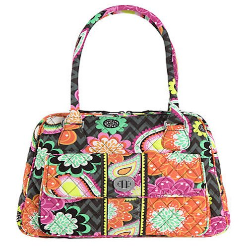 Vera Bradley Turn Lock Satchel Ziggy Zinnia
