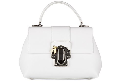 Dolce&Gabbana women's leather handbag shopping bag purse lucia white