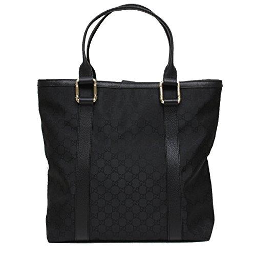 Gucci Bamboo Top Handle Large Black Nylon and Leather Tote Bag Shoulder Handbag 341536
