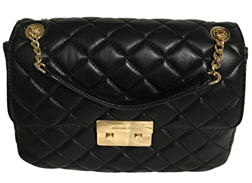Michael Kors Sloan Extra Large Chain Shoulder Bag Quilted Leather 30T6GSLL4L Black