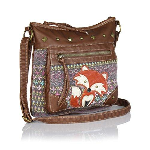 Vintage flower print Crossbody Bag with Fox, Canvas purse w/ Faux Leather Trim