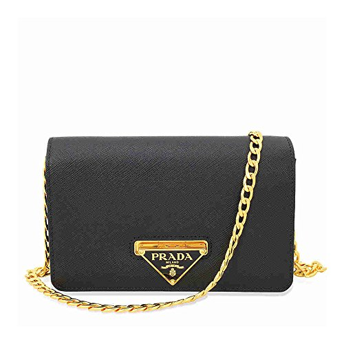 Prada Lux Saffiano Leather Crossbody Wallet – Black
