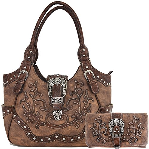 Cowgirl Western 2017 Concealed Carry Belts Country Purse Handbag Messenger Shoulder Bag Wallet Set Brown