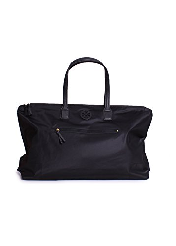 Tory Burch Ella Packable Nylon Tote Overnight Handbag in Black