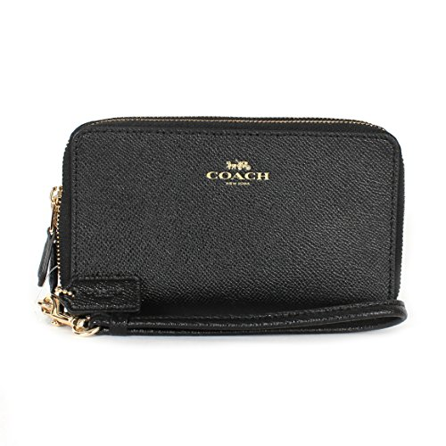Coach Crossgrain Leather Double Zipper Phone Wristlet Wallet F57467 (Black)