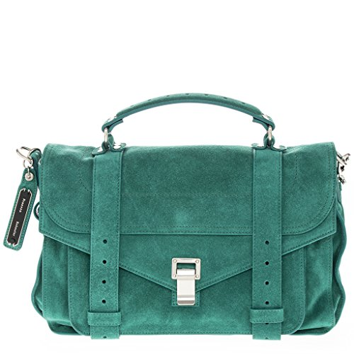 Proenza Schouler Women's Medium 'PS1' Double Belt-Strap Flap Suede Bag with Silver Hardware Green