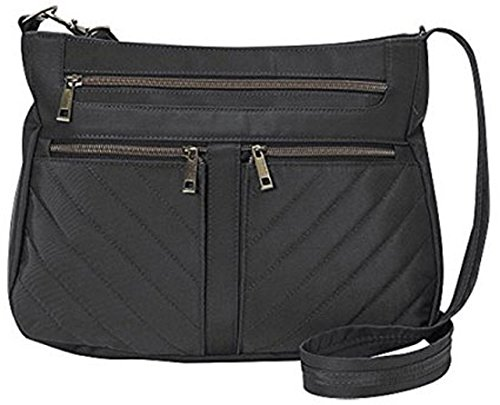 Travelon Anti-Theft Crossbody and RFID ID Pouch Set, Black