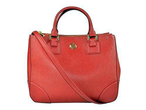 Tory Burch 33640 603 Women's Double-zip Robinson Saffiano Leather Handbag Kir Royale