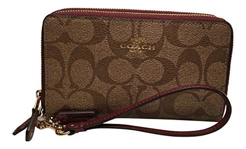 Coach Double Zip Phone Wallet Signature Leather Khaki Burgundy Wristlet F55978
