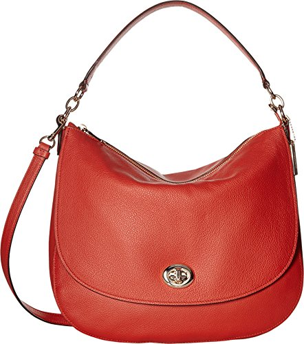 COACH Women's Pebbled Turnlock Hobo Carmine Handbag