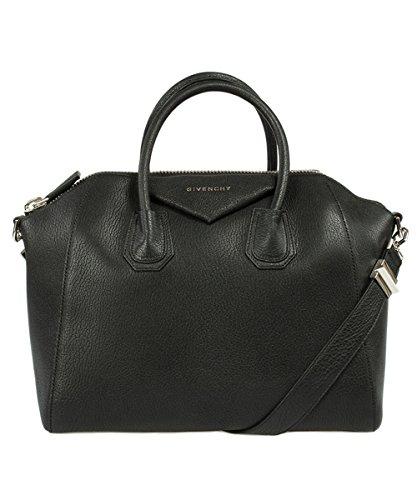 Givenchy Antigona Sugar Goatskin Satchel Bag | Black w/ Silver Hardware | Medium