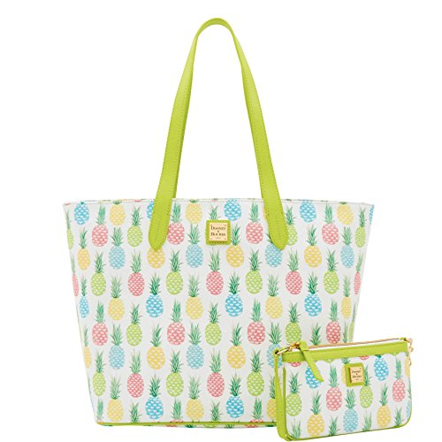 Dooney & Bourke Lg Zip Shopper & Slim Wristlet set Pineapple