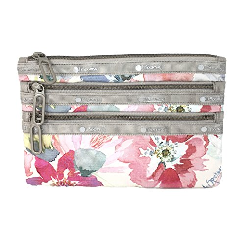 LeSportsac Classic 3-Zip Pouch Waterlily Garden One Size