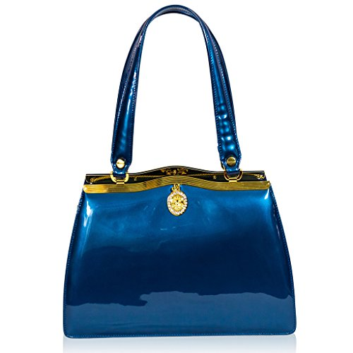 Valentino Orlandi Italian Designer Metallic Blue Patent Leather Satchel Handbag