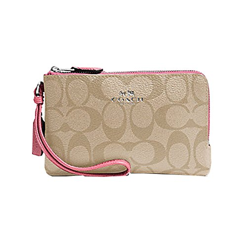 DOUBLE CORNER ZIP WRISTLET IN SIGNATURE (COACH F66506)