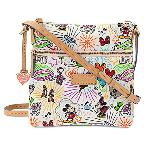 Disney Dooney and Bourke Nylon Sketch Pattern Letter Carrier Crossbody Bag