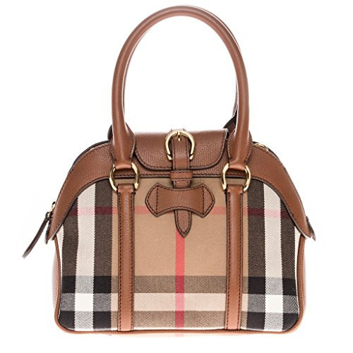 Burberry Women's Small Milverton House Check Satchel Tan