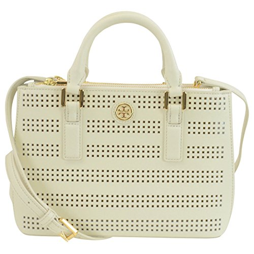 Tory Burch Robinson Perf Mirco Double Zip in Birch /Luggage