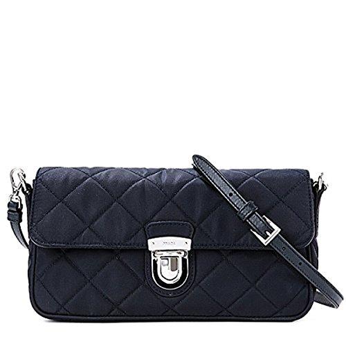 Prada Tessuto Impuntu Pattina Quilted Nylon Shoulder Bag BT1025, Navy Blue