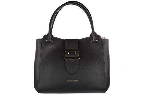 Burberry women's leather shoulder bag original tote black