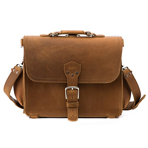 Saddleback Leather Handmade Full Grain Leather Large Satchel in Tobacco, 100 Year Warranty