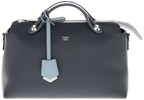 Fendi Women's Small Tri-Color 'By The Way' Smooth Boston Bag Navy Light Blue Cerulean Blue