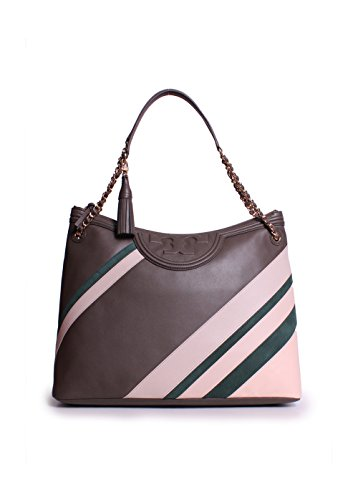 Tory Burch Fleming Stripe Tote in Dark Nicotine Stripe