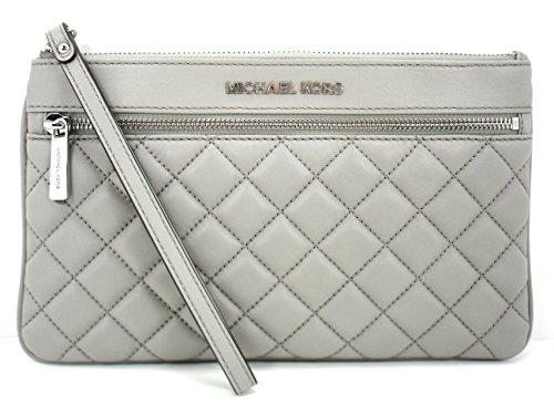 MICHAEL Michael Kors Jet Set Item Quilt Leather Large Zip Clutch Pearl Grey/Silver