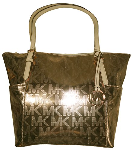 Michael Kors Jet Set East West Mirror Metallic Tote in Pale Gold