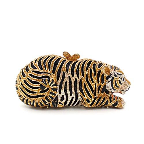 Milisente Golden Crystal Tiger Metal Evening purse clutch bag handbag