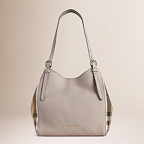 8a5c0c8a7737 Tote Bag Handbag Authentic Burberry Small Canter in Leather and House Light  Grey Melange Made in