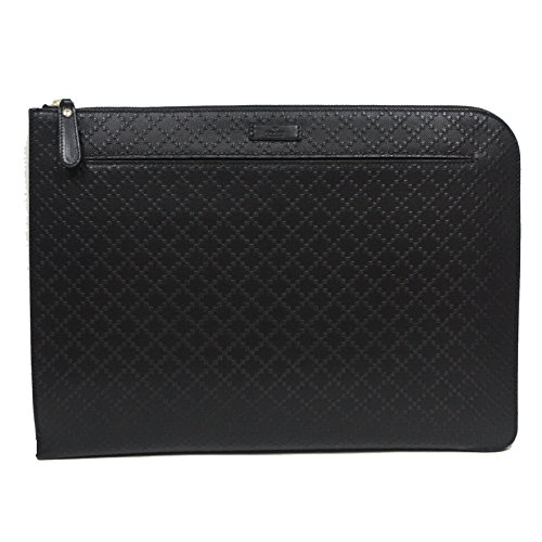 Gucci Diamante Leather Zip Portfolio Briefcase Bag 368564 1000 Black