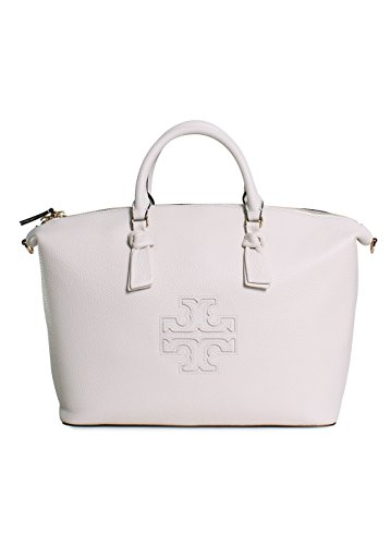 Tory Burch Harper Slouchy Pebbled Leather Satchel Handbag in New Ivory