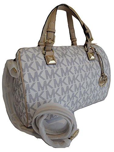 MICHAEL Michael Kors Logo Grayson Large Satchel (Navy/white)