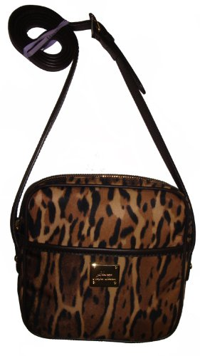 Lauren Ralph Lauren Women's Nylon Zip Top Crossbody Handbag, Leopard Print
