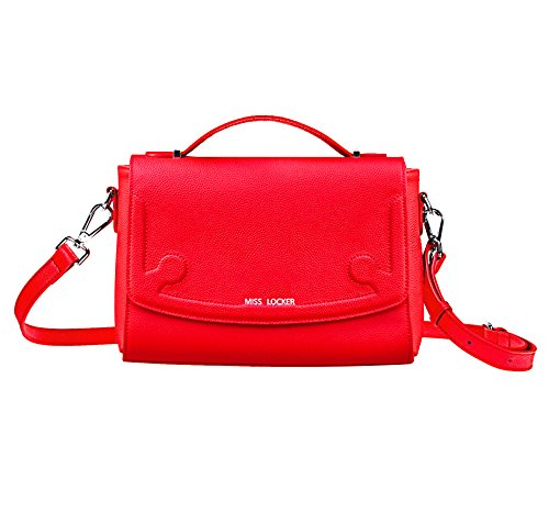 Red Leather Cross Body Bag – 3 Ways to Wear Handbag – Women Teen Girl Medium Messenger Satchel Shoulder Purse