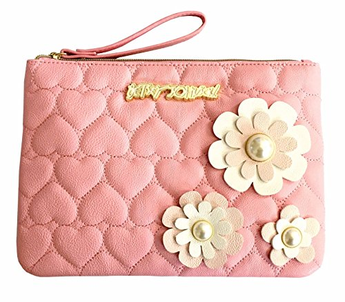 Betsey Johnson Wristlet Pouch Pink Clutch Bag Quilted 3d Flowers