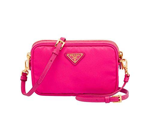 Prada 1N1861 Tessuto Nylon and Leather Crossbody Bag Fuschia Hot Pink