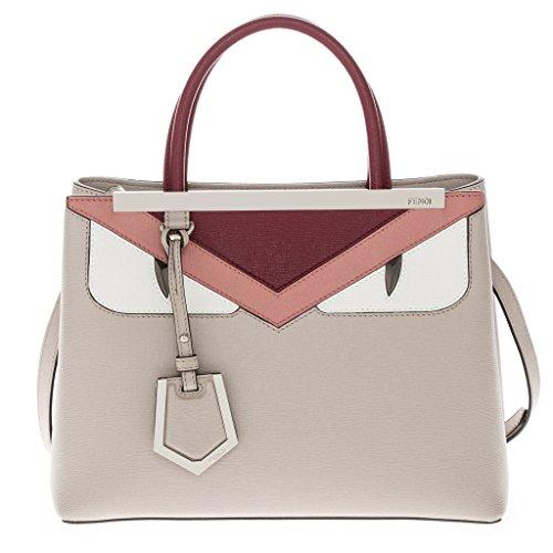 Fendi Women's 'Petite 2Jours' Bag Bugs Eye Handbag Burgundy Peach Ivory Beige