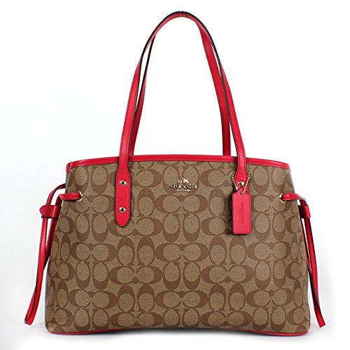 Coach Signature PVC Drawstring Carryall Shoulder Bag Khaki/Bright Pink
