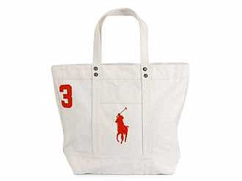 Polo Ralph Lauren Cotton Canvas Big Pony Zip Tote Bag (White)