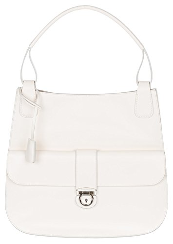 Salvatore Ferragamo White Cream Leather Ketty Slim Tote Shoulder Bag