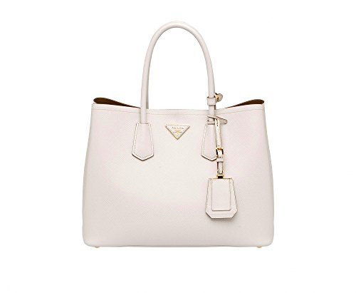 Prada Saffiano Leather Tote Handbag Talco
