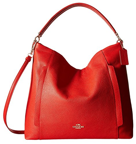 Coach Scout Large Pebble Leather Hobo Shoulder Convertible Bag, Cardinal